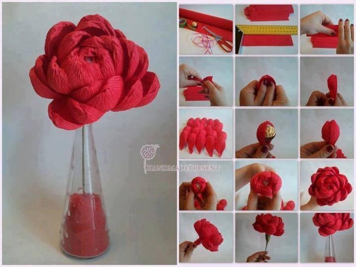 Цветы из гофрированной бумаги с конфетами своими руками пошагово