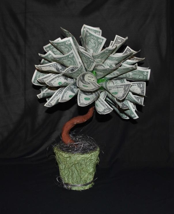 Как пошагово сделать денежное дерево из купюр фото