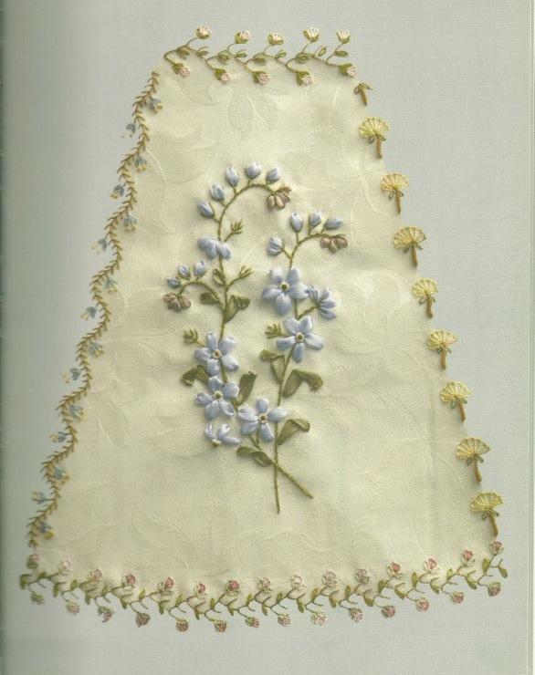 Вышивка атласной лентой для скатерти