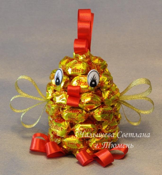 Как сделать петуха с конфетами